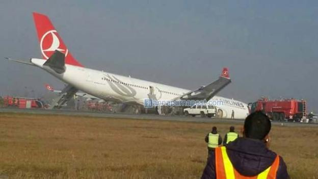 Turkish Airlines Plane Crashes At Tribhuvan International Airport