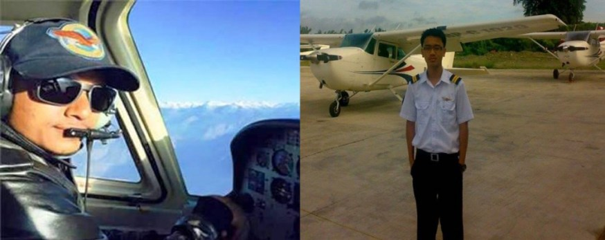 Captain Dinesh Neupane (left) and co-pilot Santosh Rana of crashed Air Kasthamandap's 9N-AJB aircraft. /Source: The Kathmandu Post