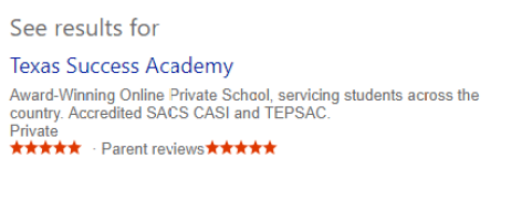 Parents give Texas Success Academy 5 stars.