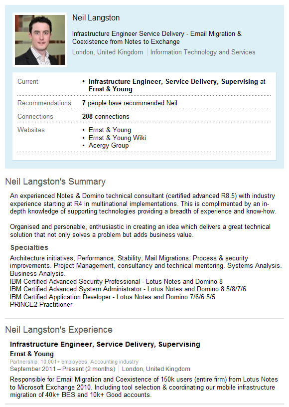 Neil Langston LinkedIn profile