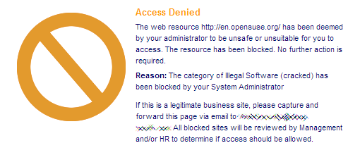 Opensuse Blocked By Postini Quot Illegal Software Quot Texasswede