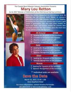 Coastal Bend Women Lawyers' Spring Luncheon 2017 with Mary Lou Retton