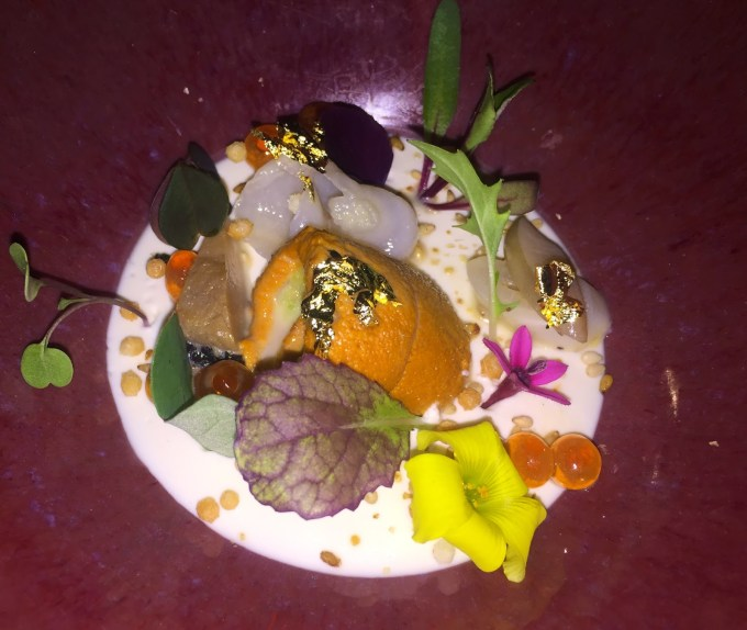 Beautifully plated uni at the Michelin 2 starred restaurant, Providence, on Melrose Ave.