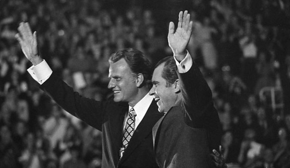 President Richard Nixon with Billy Graham at a Billy Graham Crusade
