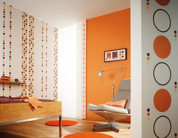 Φωτεινή διακόσμηση εσωτερικών χώρων με πορτοκαλί χρώμα