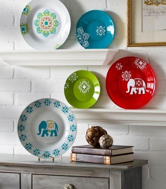 ιδέες με Diy σχέδια stencil - πιάτα