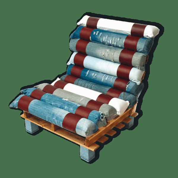 Πολυθρόνα κατασκευασμένη από παλέτες και τζιν2