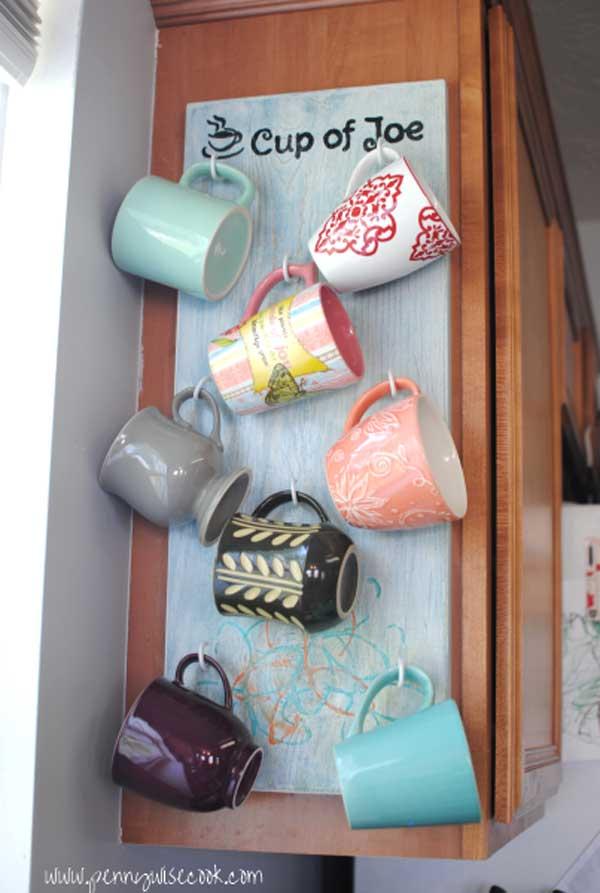 DIY ιδέες αποθήκευσης για τις κούπες του καφέ4
