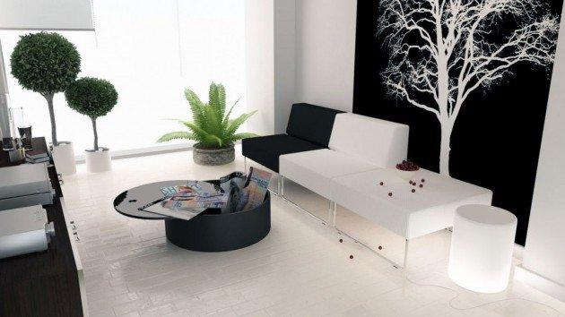 Ιδέες Σχεδιασμού  Σαλονιού  σε Άσπρο & Μαύρο14