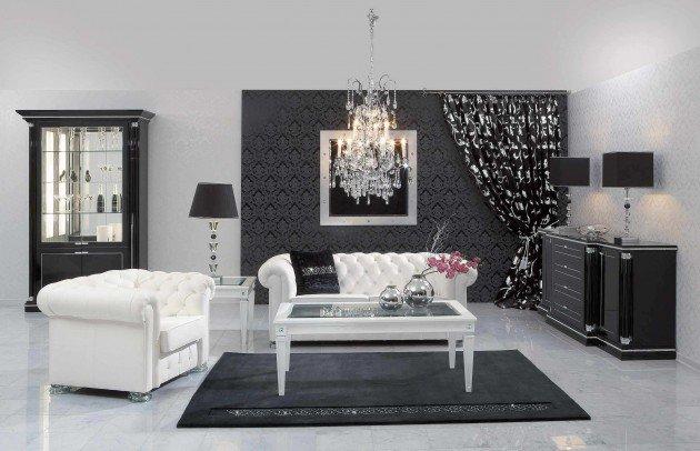 Ιδέες Σχεδιασμού  Σαλονιού  σε Άσπρο & Μαύρο15
