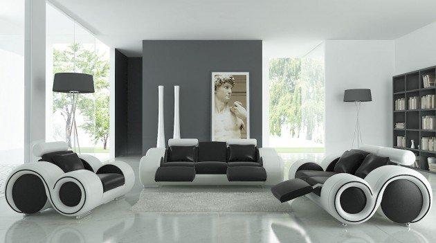 Ιδέες Σχεδιασμού  Σαλονιού  σε Άσπρο & Μαύρο17