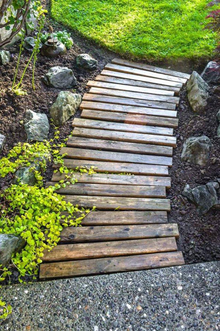ιδέες με ξύλινα μονοπάτια κήπου14