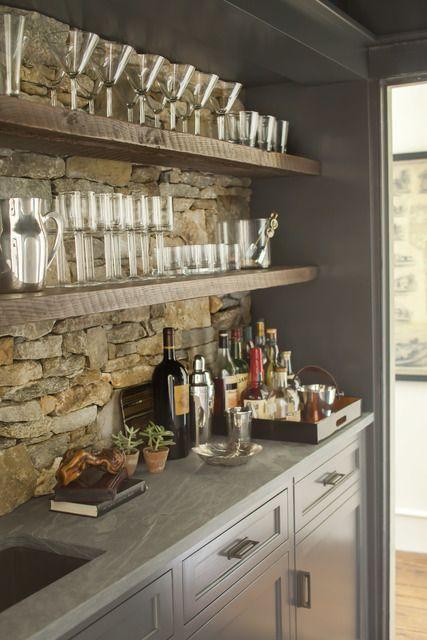 ιδέες με πέτρες, τούβλα και βότσαλα για τοίχους κουζίνας20