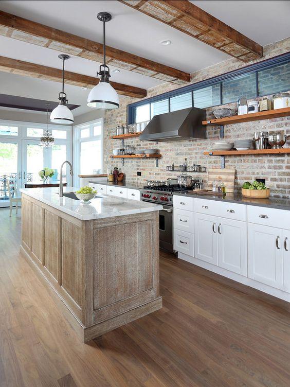 ιδέες με πέτρες, τούβλα και βότσαλα για τοίχους κουζίνας31