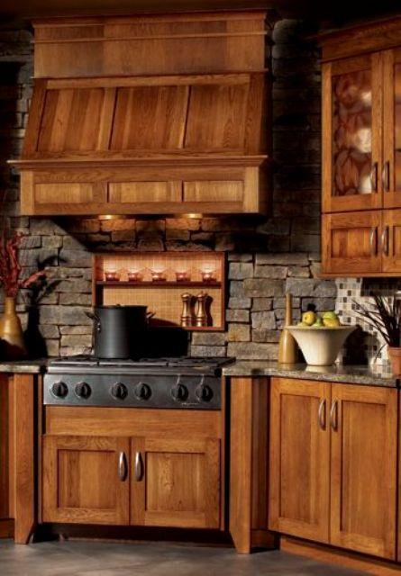 ιδέες με πέτρες, τούβλα και βότσαλα για τοίχους κουζίνας36