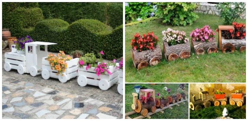 διακοσμήσεις κήπου με ξύλινα καφάσια και κορμούς δέντρου