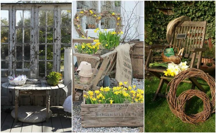 Φθηνή διακόσμηση κήπου 30 Shabby Chic ή ρουστίκ στυλ αντικείμενα