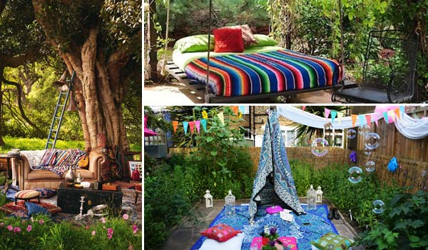 Top 34 Εκπληκτικές ιδέες στολισμού κήπου στο μποέμικο στυλ