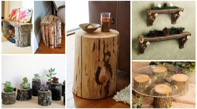 18 Συναρπαστικές DIY ιδέες διακοσμήσης από κούτσουρα που μπορείτε να κάνετε μόνοι σας