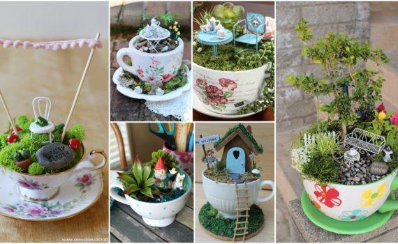 Καταπληκτικοί Diy μικροσκοπικοί κήποι να τους πιείς στο φλυτζάνι