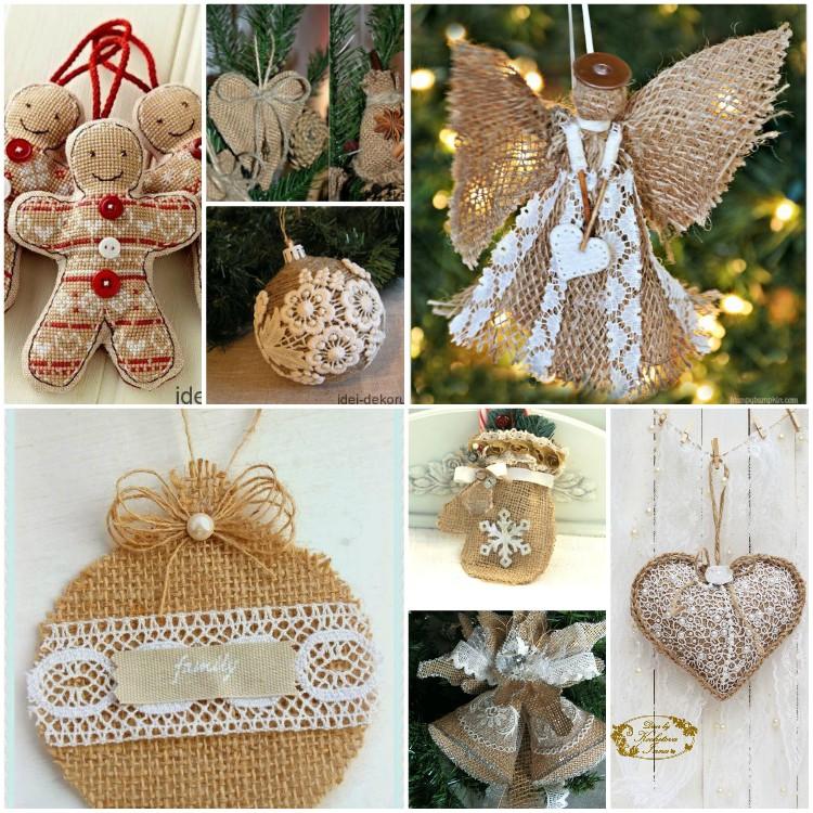Χριστουγεννιάτικα στολίδια για το δέντρο από λινάτσα: υπέροχες και απλές ιδέες