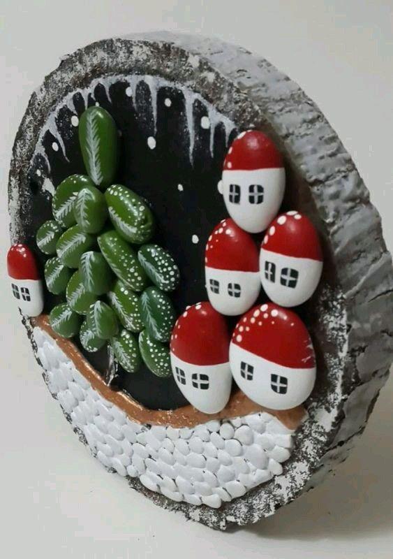 Χριστουγεννιάτικη ζωγραφική σε πέτρες και βότσαλα19