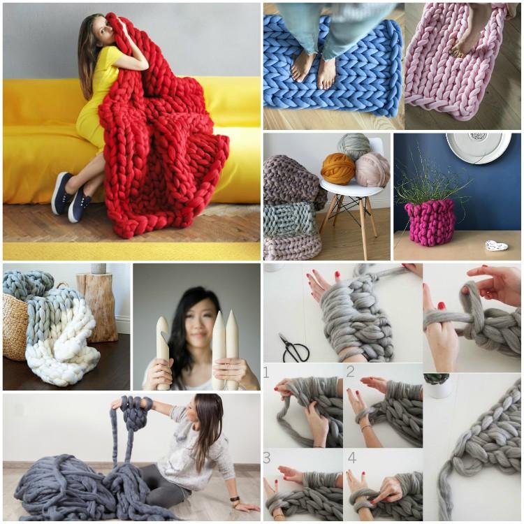 XXL Πλέξιμο: Κουβέρτες, μαξιλάρια από γιγαντιαία νήματα είναι μόδα στη διακόσμηση