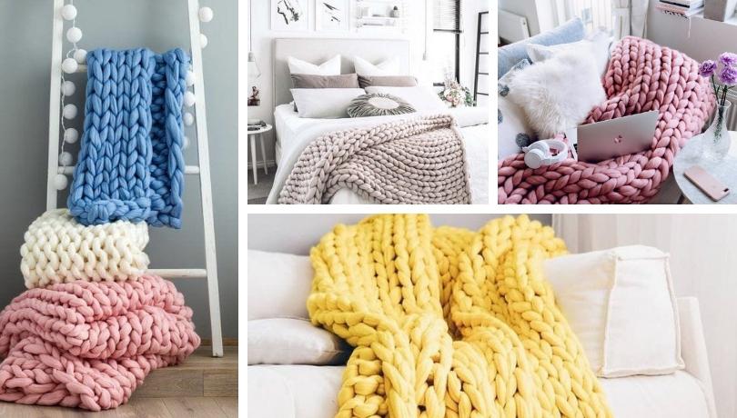 Deco trend: Ζεστή διακόσμηση με πλεκτές κουβέρτες από χοντρό μαλλί (βίντεο βήμα βήμα)