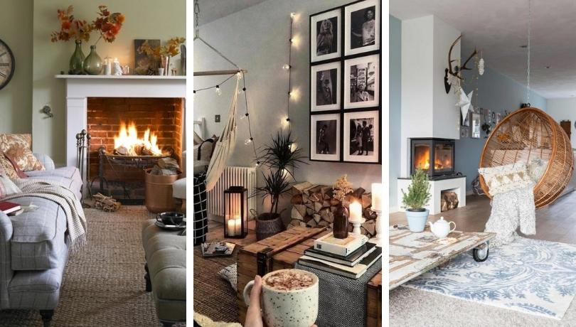 Άνετο - ζεστό σαλόνι ιδέες - πώς να μετατρέψετε αυτό το βασικό δωμάτιο για την εποχή του φθινοπώρου / του χειμώνα