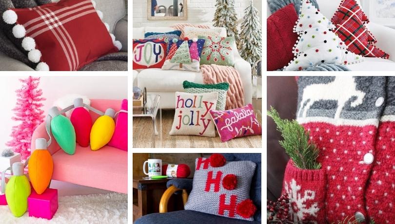 Αξιολάτρευτα Χριστουγεννιάτικα μαξιλαράκια που θα ομορφύνουν το σαλόνι σας και που μπορείτε να τα κάνετε και μόνοι σας