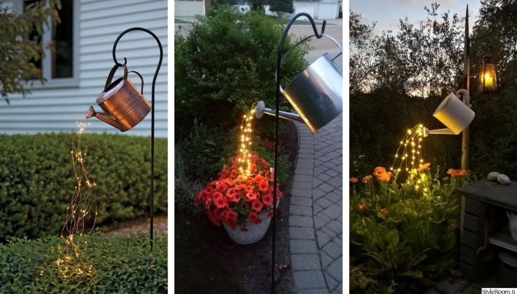 Deco trend: Έμπνευση για όμορφη διακόσμηση κήπου με παλιά ποτιστήρια και led φωτάκια