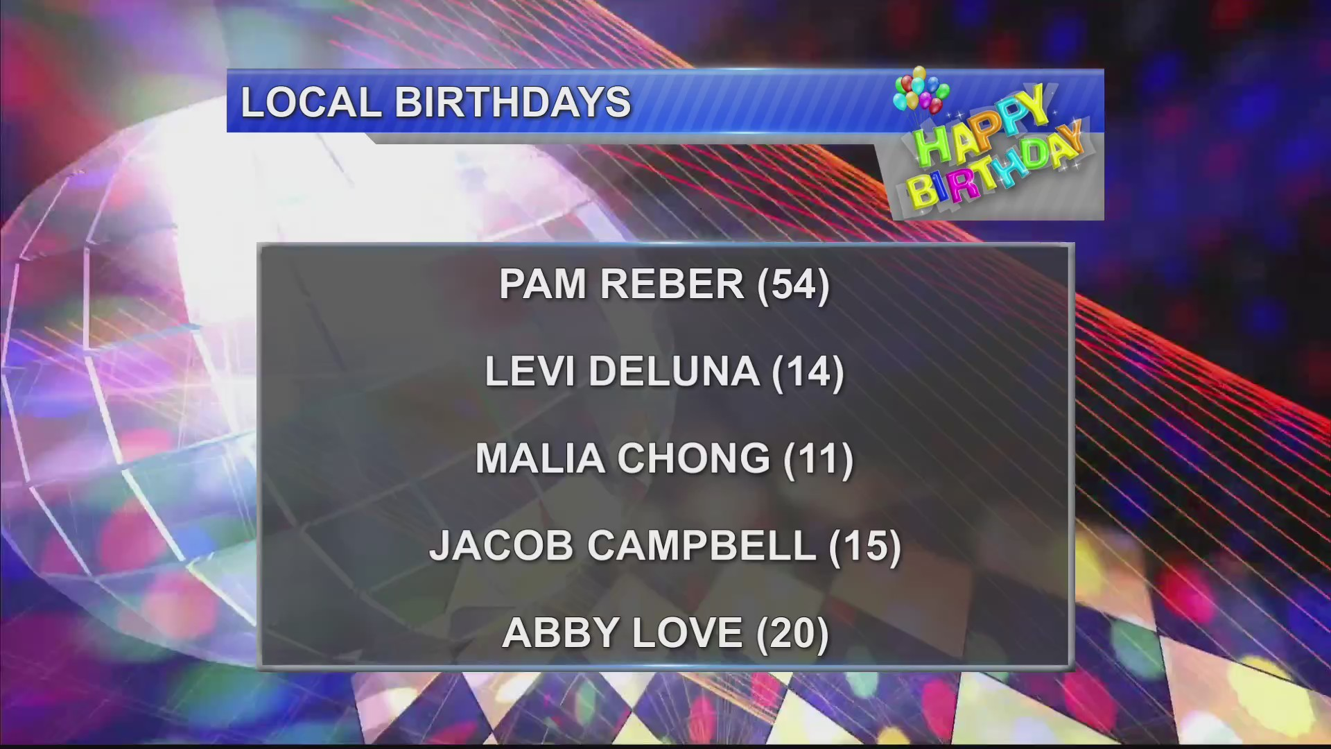 Birthdays & Anniversaries 11/16/18