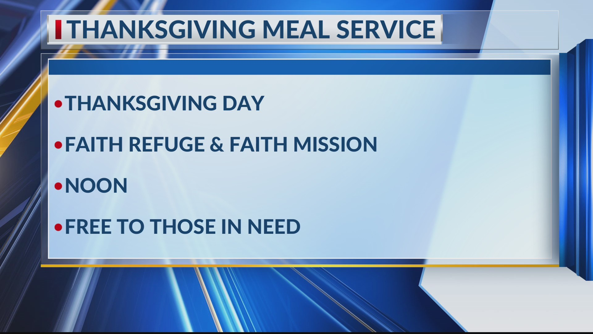 Faith Mission's Thanksgiving Meal Service