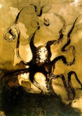 Victor Hugo, Octopus, ca. 1866, Tinte auf Papier