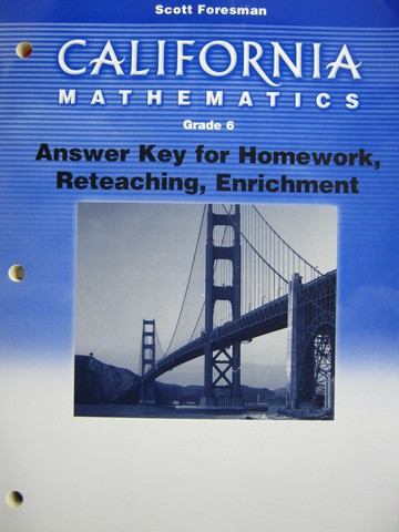 California Mathematics 6 Answer Key For Homework Ca P