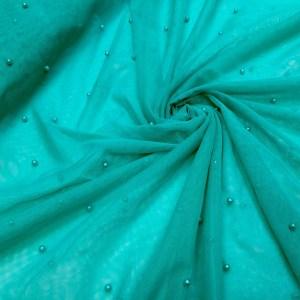 Tulle verde-turquoise cu perle