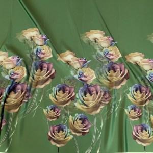 Tafta Duchesse verde imprimata digital