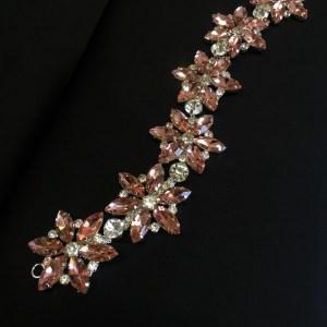 Accesoriu argintiu pietre piersiciu-rose
