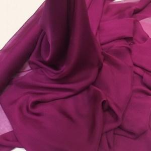Voal chiffon de matase naturala bordeaux-fuchsia inchis
