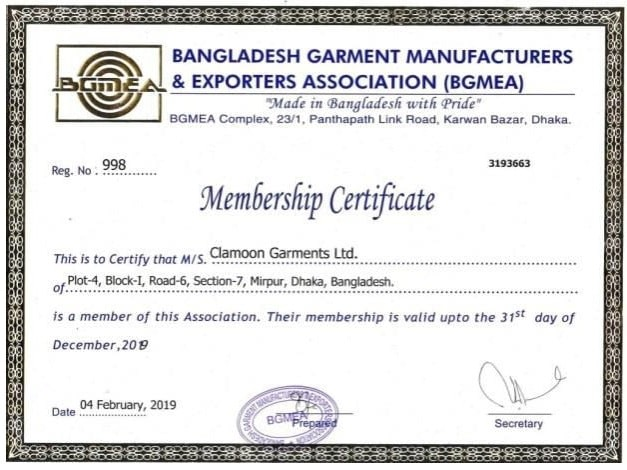 BGMEA certificates Garments B for compliance and audit