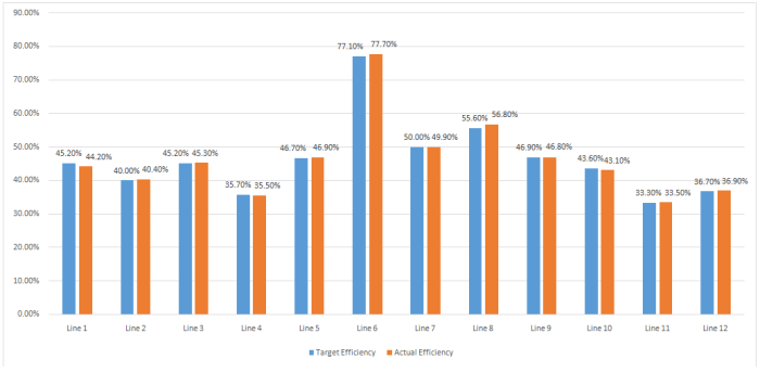 Sewing Line Efficiency Report (Day 2)