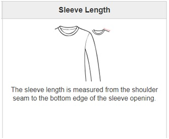sleeve length is measurement from the shoulder seam to the bottom