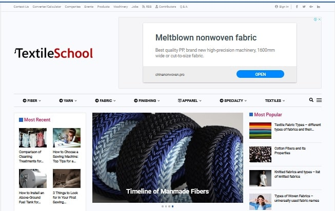 Home page of Textile school
