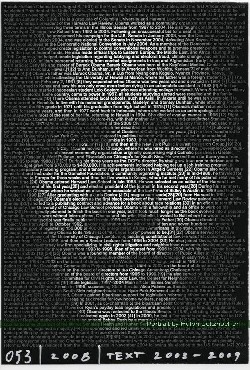 Barack Obama, Ralph Ueltzhoeffer Textportrait