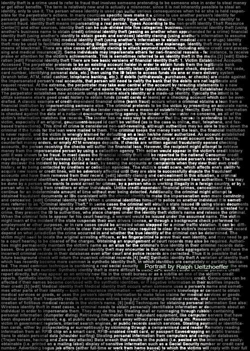 Identität-Identity, Ralph Ueltzhoeffer Textportrait