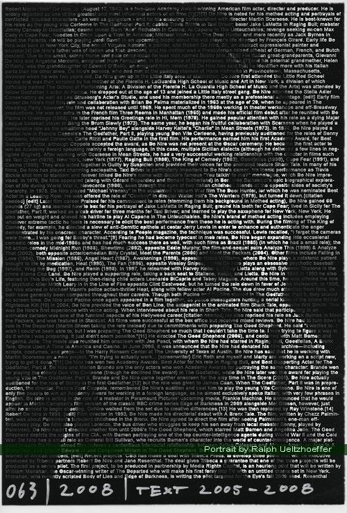 Robert De Niro, Ralph Ueltzhoeffer Textportrait