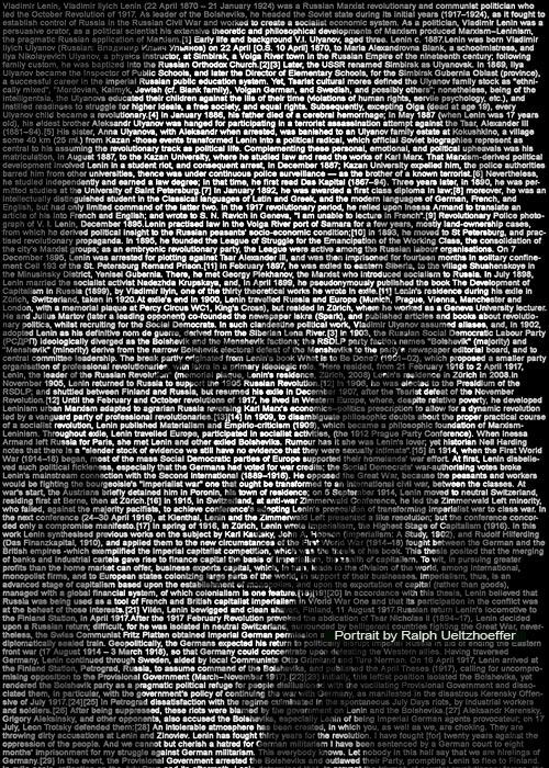 Vladimir Lenin, Text Portrait, Ralph Ueltzhoeffer (*1870)