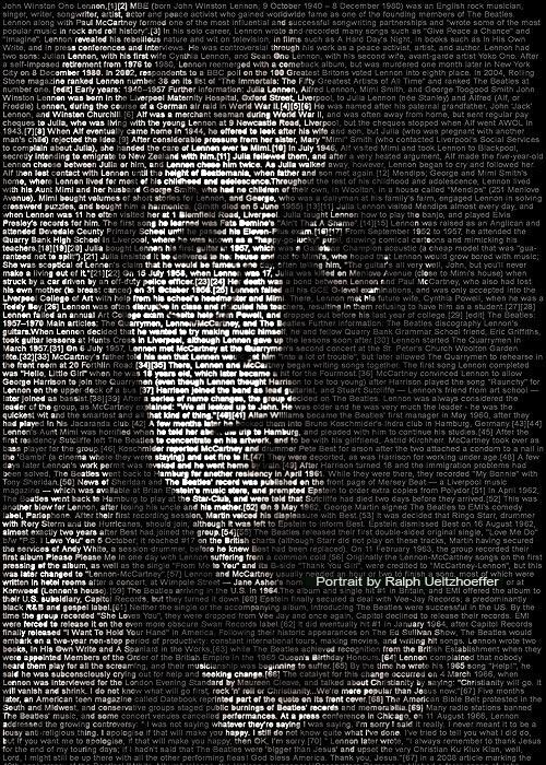 John Lennon, Text Portrait, Ralph Ueltzhoeffer (*1940)