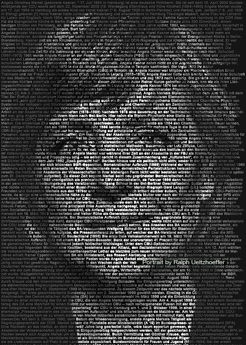 Angela Merkel, Text Portrait, Ralph Ueltzhoeffer (*1954)