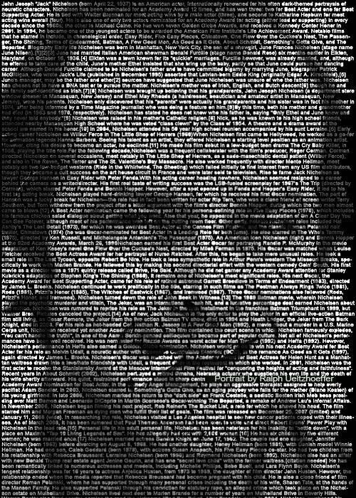 Jack Nicholson, Text Portrait, Ralph Ueltzhoeffer (*1937)